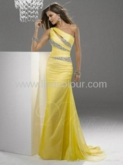 one shoulder beaded dress floor length