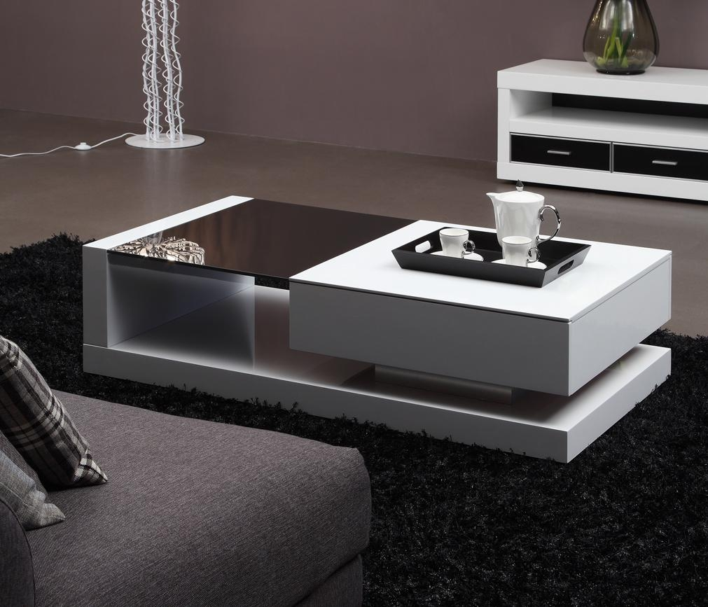 Modern tempered glass high glossy mdf coffee table 001 for Latest center table design