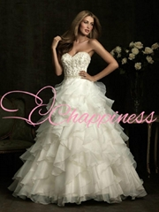 latest embroidered beaded organza wedding gowns