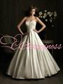 2014 wedding dresses A line satin beaded
