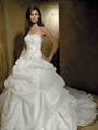 Strapless embroidered bodice picked up skirt chapel wedding dress for tall slim  1