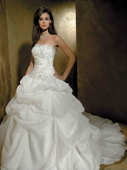 Strapless embroidered bodice picked up skirt chapel wedding dress for tall slim