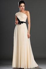 Chiffon evening dress with black sash