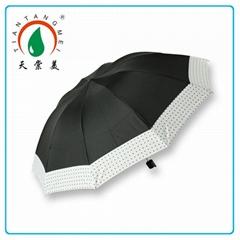 Black Ribs Frame Brazil 3 Fold Rain Umbrella