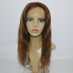 stock lace wig lace front human hair wig hair replacement straight brown #4/27