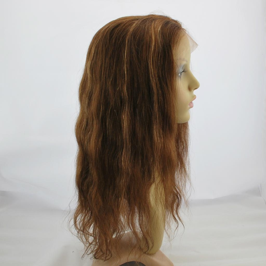 stock lace wig lace front human hair wig hair replacement straight brown #4/27 3