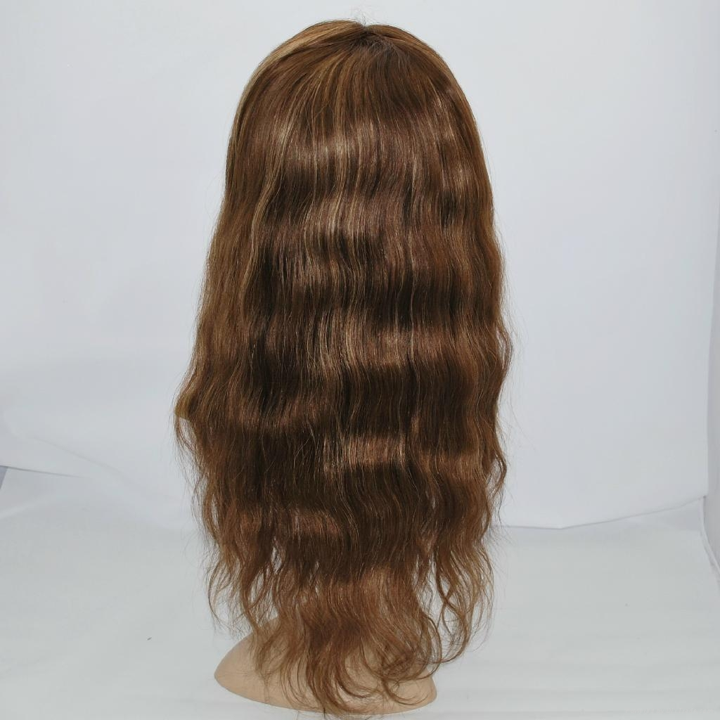 stock lace wig lace front human hair wig hair replacement straight brown #4/27 5