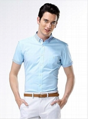 Men's office light blue shirts with short sleeves