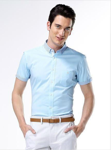 Men 39 s office light blue shirts with short sleeves for Light blue short sleeve shirt mens