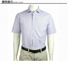 商务休闲尖领短袖衬衣