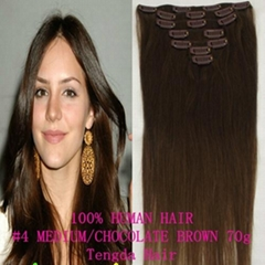 """#4 chocolate brown  28""""Clip On Hair Extension"""