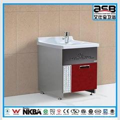 ceramic sink Stainless Steel laundry bathroom cabinet
