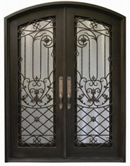 wrought iron security door with glass