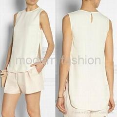 Women summer clothing chiffon blouse with side slit