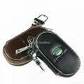 Leather car key case with car brand logo