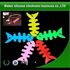 2014 high quality silicone fish bones headphone winder