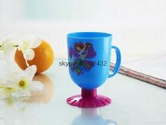 Children plastic cup with cartoon head (duck,cock,elephant,frog)