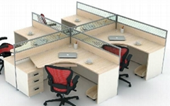 Office Workstation, Melamine with Glass Partition