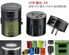 魔幻双USB全球通转换插座