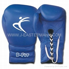 Blue Color Leather Boxing Gloves Cuff with Laces Closure