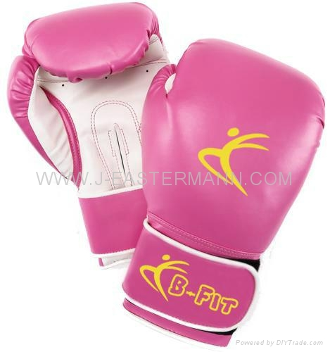 Ladies Pink Leather Boxing Gloves Velcro Cuff 1