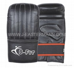 Black Leather Bag Gloves with Elastic Closure