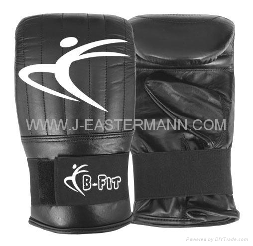 Black Leather Bag Gloves with Elastic Closure  3