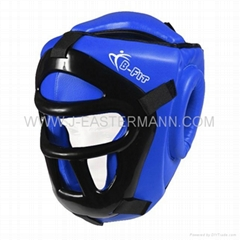 Blue Leather Head Guard With Helmet