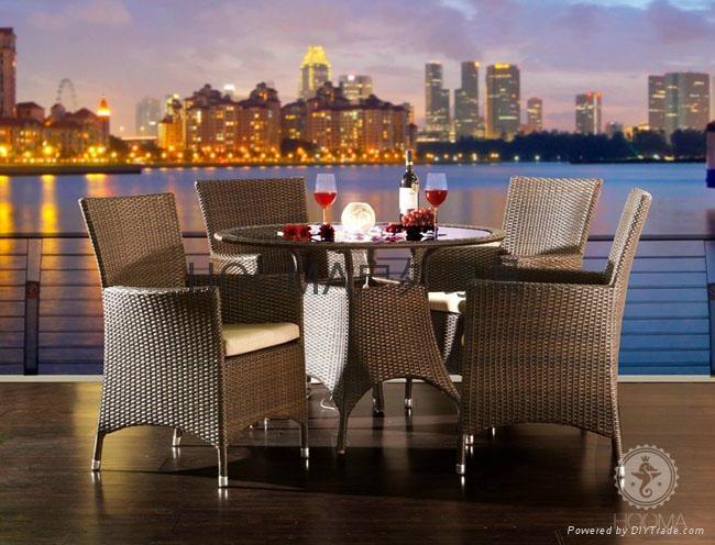 HMC6080 编藤户外餐桌椅 1