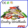 Country Silicone Bracelet for 2014 Brazil Soccer World Cup Gifts