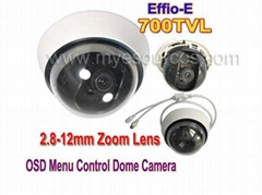2MP 2.8-12mm ZOOM Lens 700TVL SONY CCD Effio-E OSD MENU CCTV Indoor Dome Camera