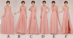 Floor Length Pink Chiffon Evening Dress Bridesmaid Dress Party Dress 238