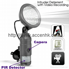 Flood Light LED Security PIR DVR Monitor Intruder Deterrent W/ Motion Detection