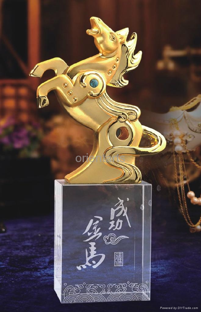 Golden Horse on Clear Crystal Base for Successful Feng Shui  1
