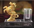 Golden Horse on Clear Crystal Base for Successful Feng Shui  2