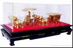 中国特色礼品金属摆件铜车马双车