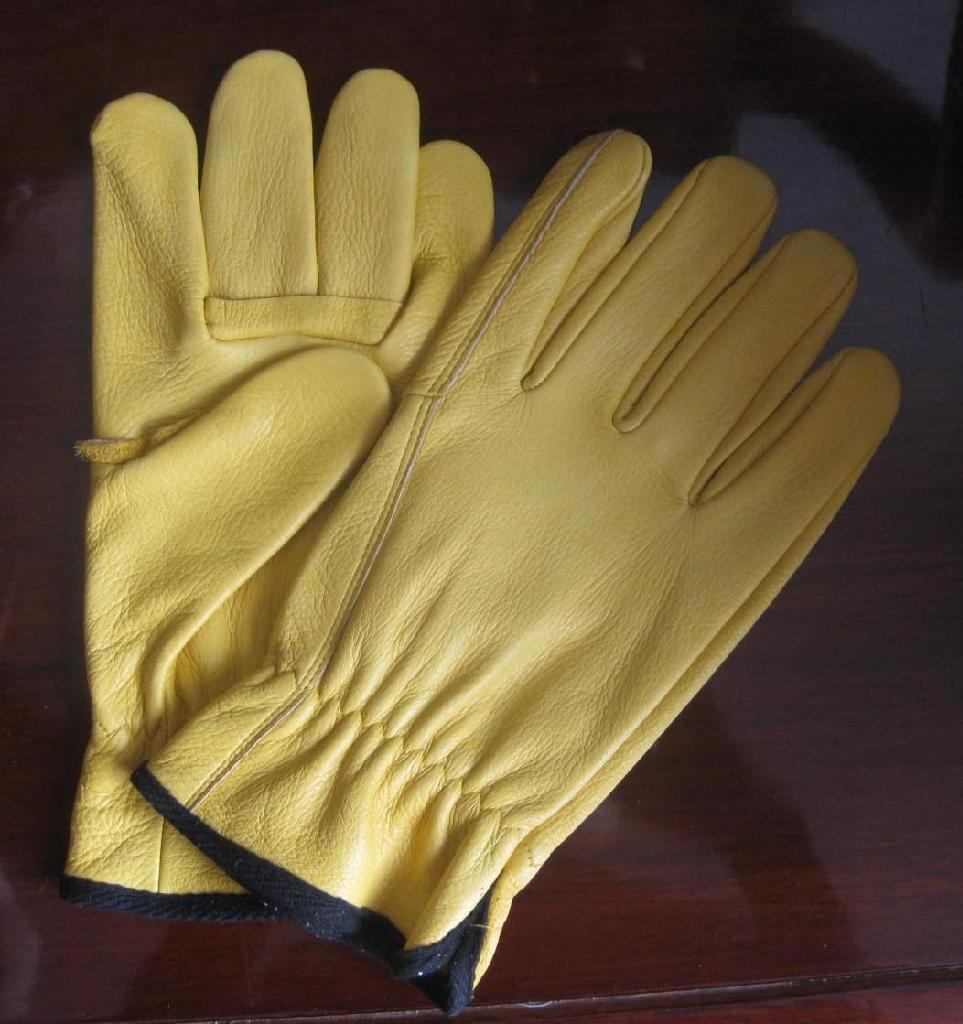 Yellow cowhide gloves 1