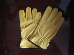 Yellow cowhide gloves