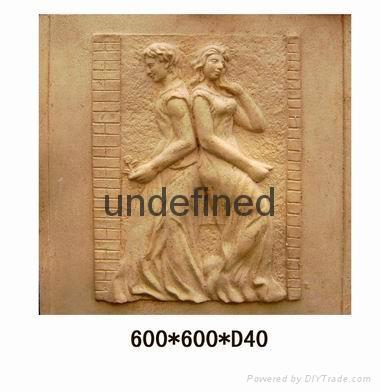 仿砂岩壁畫人物浮雕 2