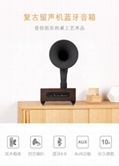 復古實木立體聲留聲機音箱