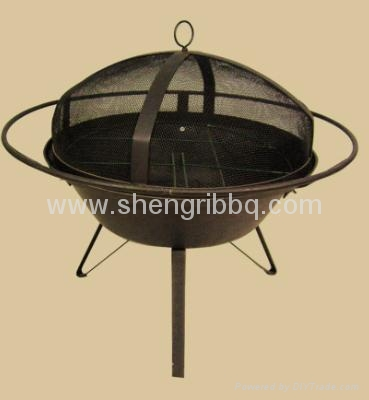 totally cast iron fire bowl with bbq grill  4