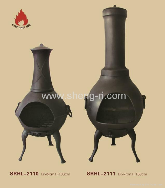 Outdoor chiminea with bbq grill  2