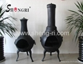 Outdoor chiminea with bbq grill