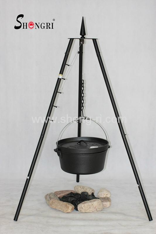 Small Tripod Bbq Grill With Dutch Oven For Outdoor Camping