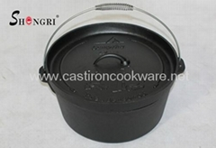 Pre-Seasoned 6-Quart Camp Cast Dutch Oven with Iron Lid Camping