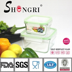 square heat resistant glass food storage container