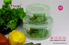 high quality heat resistant borosilicate glass food container 370ml 830 ml