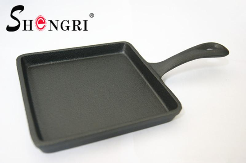 New Mini Cast Iron Cookware Vegetable Oil Square Fry Pan Grill Pan With Ha 1