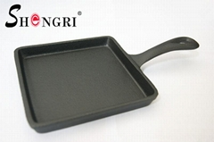 New Mini Cast Iron Cookware Vegetable Oil Square Fry Pan Grill Pan With Ha