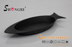 New Cast Iron Cookware Vegetables Oil Fish Pan, Baking Dish for Fish